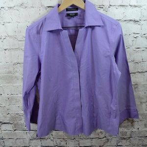 Foxcroft Non Iron Fitted Fit Purple Career Top